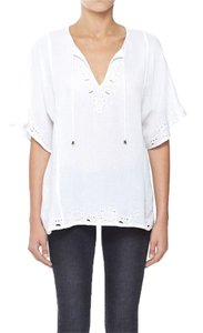 ANINE BING Embroidered Summer Top White