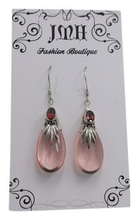 Other 925 Sterling Silver Pink Drops with Ruby Crystal Accent w Free Shipping