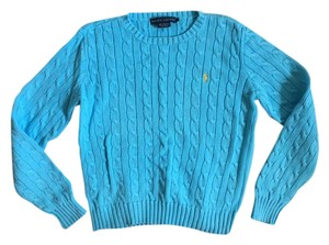 Ralph Lauren Classic Turquoise Cable Knit 100% Cotton Sweater