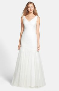 Monique Lhuillier Monique Lhuillier V-neck Shirred Tulle Trumpet Dress. Item #932363 Wedding Dress