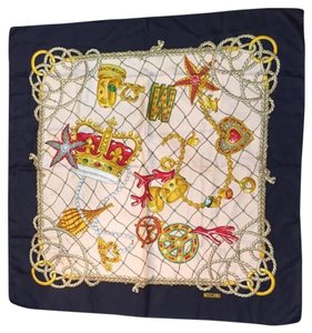 Moschino MOSCHINO Pink Navy & Gold Crown Print Silk Scarf!