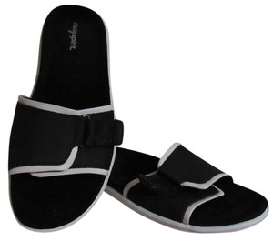Easy Spirit Leather Slides Black with white trim Mules