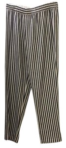 Theory Striped Linen Relaxed Pants Blue and white