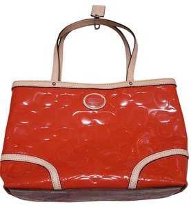 Coach Patent Leather Tote in Orange