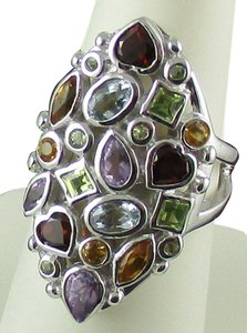 Princess Jaipur Princess Jaipur 2.52ct Multigemstone Sterling Silver Marquise-Shaped Cluster Ring - Size 7