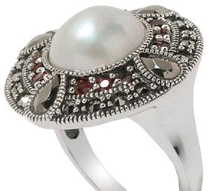 Other Marcasite, Cultured Mabe Pearl and Garnet Sterling Silver Ring - Size 7