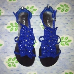 Love Culture Ruffle Studded Blue Sandals