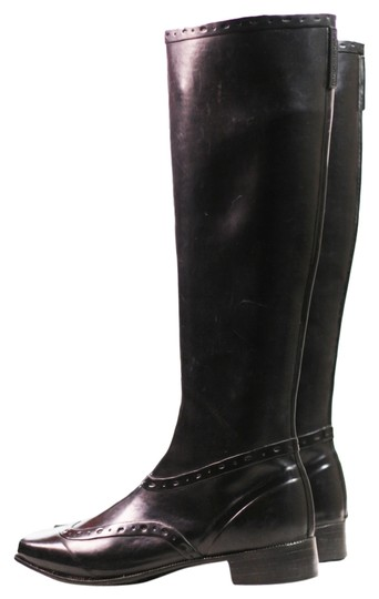 Sigerson Morrison Rain Knee-high Rubber Wing Tip Black Boots