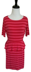 Ella Moss short dress Red and Coral Striped Short Sleeve on Tradesy