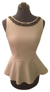 Bisou Bisou Pelum Wear To Work Top White with black beading