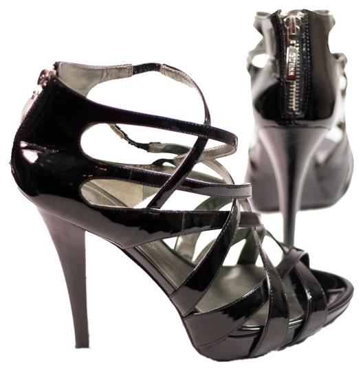 Guess Strappy Patent Leather Cage Black Platforms