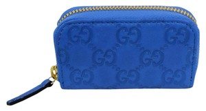 Gucci Gucci Gg Guccissima Mini Zip Around Coin Wallet Blue 324801