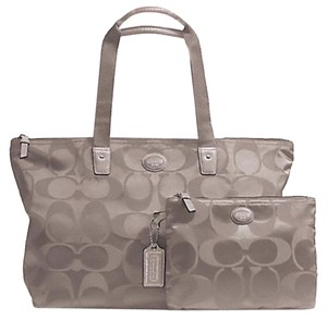 Coach Weekender Nylon Signature Packable Tote Getaway Steel Grey Travel Bag
