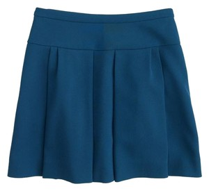 J.Crew Box Pleat Blue Pleated Crepe Size 4 Mini Skirt caravan blue