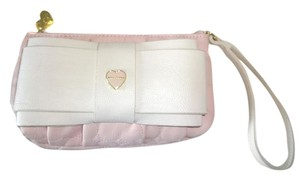 Betsey Johnson QUILTED HEART /BONE BOW/ TOP ZIP CLOSURE WRISTLET