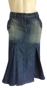 Alexander McQueen Mcqueen Denim Jean Jeans Denim Jean Fit N Flare Fit And Flare Designer Italian Made In Italy Rare Chic Fitted Brown Skirt Blue