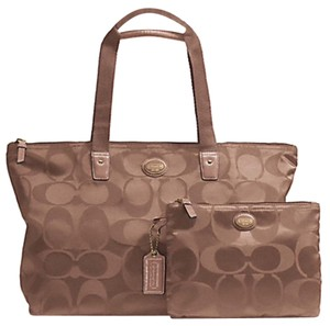 Coach Weekender Nylon Signature British Tan Travel Bag