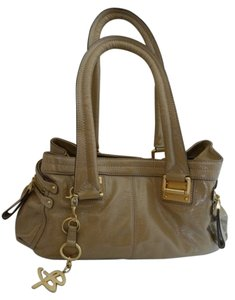 B. Makowsky Patent Leather Satchel in Tan