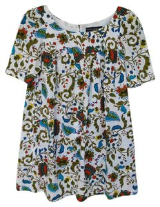French Connection short dress White with Green and Blue Cotton Smock Summer on Tradesy