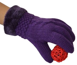 Maroon Purple Extra Thick Fur Lined Knit Gloves Free Shipping