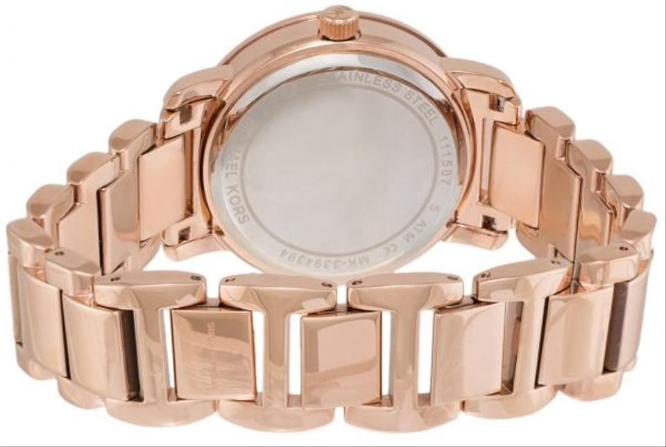 077e4576e7e8 ... MICHAEL KORS MK3394 ROSE GOLD STAINLESS STEEL MK LOGO PAVE DIAL WOMENS  WATCH. 123