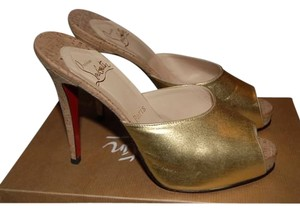 Christian Louboutin Leather Gold Mules