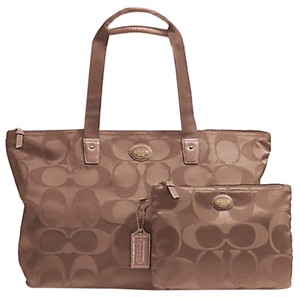 Coach Weekender Nylon Signature Packable Tote Getaway British Tan Travel Bag