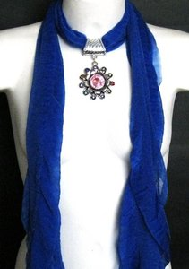 Deep Blue Scarf With Rhinestone Flower Charm Free Shipping