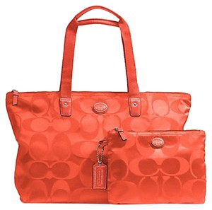 Coach Weekender Nylon Signature Hot Orange Travel Bag