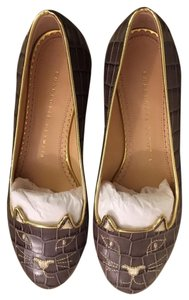 Charlotte Olympia Kitty Grey Flats