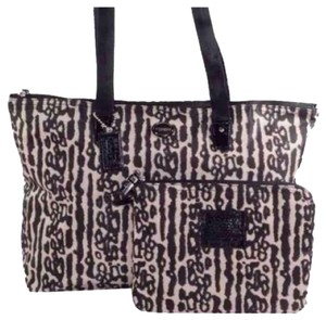 Coach Signature Packable Tote Getaway Ocelot Print Nylon Weekender Black Multi Travel Bag