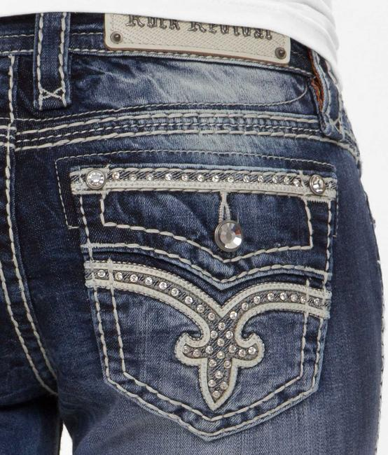 Item - Blue Medium Wash Worn Once Low Rise Victories Stretch X 34 Boot Cut Jeans Size 24 (0, XS)