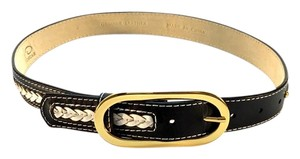 Oscar de la Renta Black and White Leather Stitched Belt