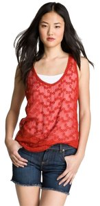 Lucky Brand Embroidered Sheer Boho Top Burnt Sienna