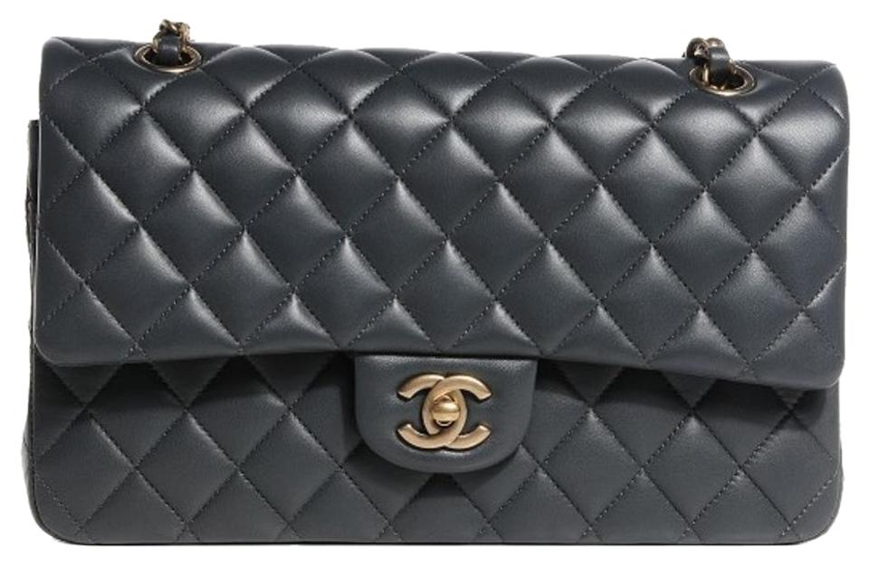 fc7768ed55d2 Chanel 2.55 Reissue Double Flap L Classic Quilted Charcoal Medium M/L  A01112 Grey Gray Lambskin Leather Shoulder Bag