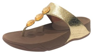 FitFlop Snakeskin Thong Pale Gold Sandals
