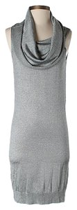 Halston Cowl Neck Knit Sheath Sleeveless Dress