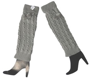 Other Modern City Chic Cable Knit Acrylic Legwarmer W/Pom Poms, Mercury Gray, 15
