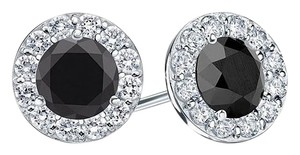 LoveBrightJewelry Onyx and CZ Halo Stud Earrings in Sterling Silver 1.00.ct.tw