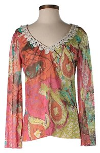 Trina Turk Paisley Lace Trim Top