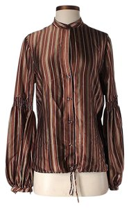 BCBGMAXAZRIA Silk Striped Top Brown