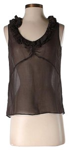 Marc by Marc Jacobs Silk Sheer Ruffle Top Black
