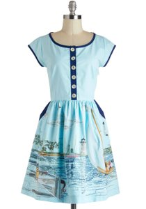 Knitted Dove Retro Embroidered Dress