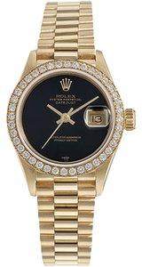Rolex Ladies Rolex Presidential 69178 18k Gold black dial and diamond bezel Watch