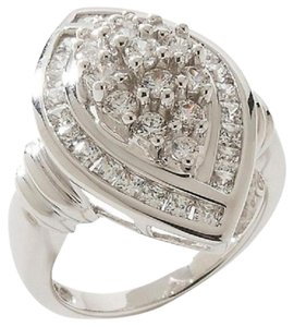 Absolute Simulated Diamond Absolute 1.26ct Marquise Shape Sterling Silver Ring - Size 7