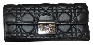 Dior Dior Like New Black Cann Lamb Lg Wallet
