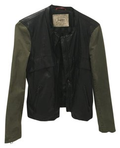Zara Leather Military Black and green Leather Jacket