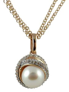 Honora Honora Cultured Pearl 10mm and Gemstone Crossover Rose-Colored Bronze Pendant and Chain