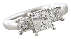 Vintage 14k White Gold 1.89ctw Princess Cut Diamond Engagement Ring Sz6.75