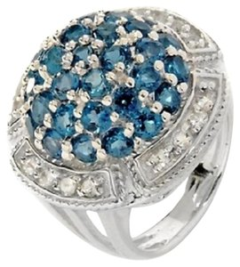 4.60ct London Blue and White Topaz Sterling Silver Dome Ring - Size 7